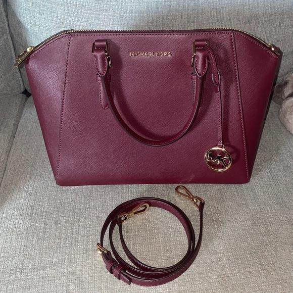 Michael Kors Ciara Merlot Leather Satchel